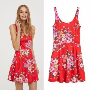 H&M Divided Red Floral Fit & Flare Dress